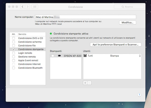 Screenshot che mostra come collegare stampante in rete