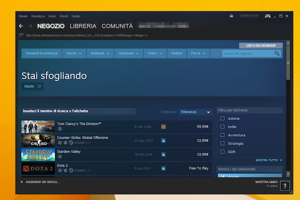 Screenshot di Steam