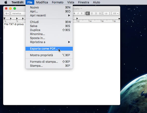 Screenshot di TextEdit su Mac