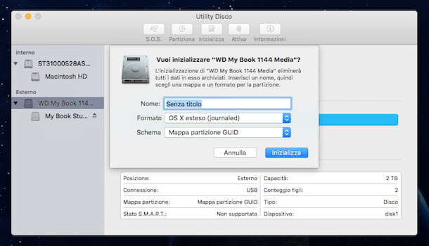Screenshot di Utility Disco su OS X