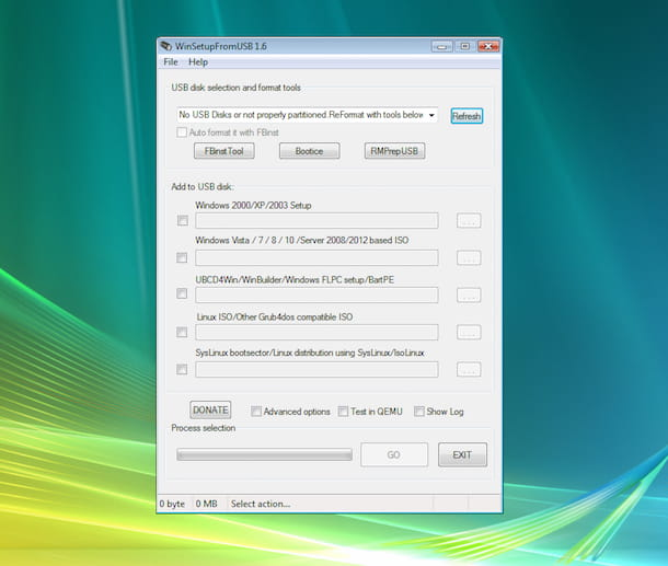 Screenshot di WinSetupFromUSB su Vista