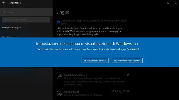 Riavvio PC per modifica lingua Windows 10