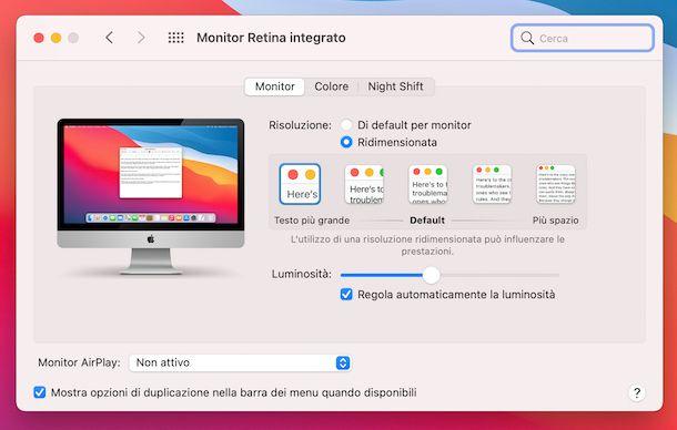 Impostazioni risoluzione schermo macOS