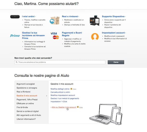 Screenshot di Amazon