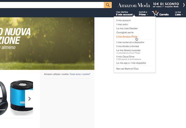 Screenshot del sito Internet di Amazon
