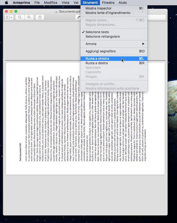 Screenshot di Anteprima su OS X
