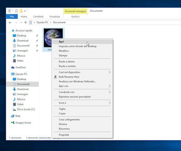 Screenshot che mostra come aprire i file PNG