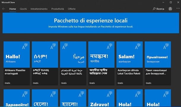 Modifica lingua in Windows 10 da Microsoft Store