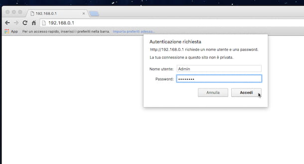 Screenshot che mostra come configurare DNS