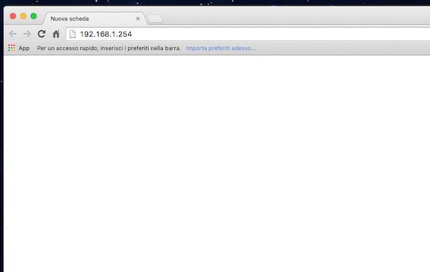 Screenshot modem Fastweb
