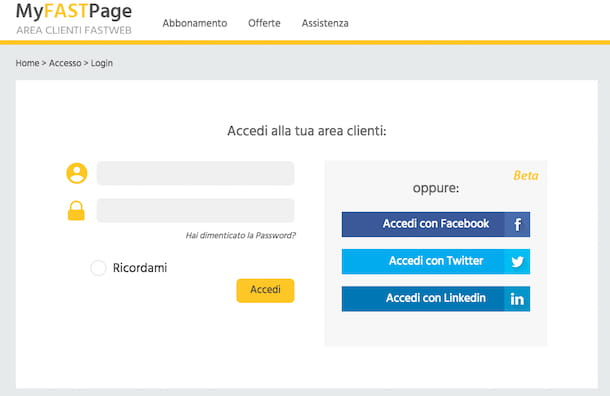 Screenshot Fastweb