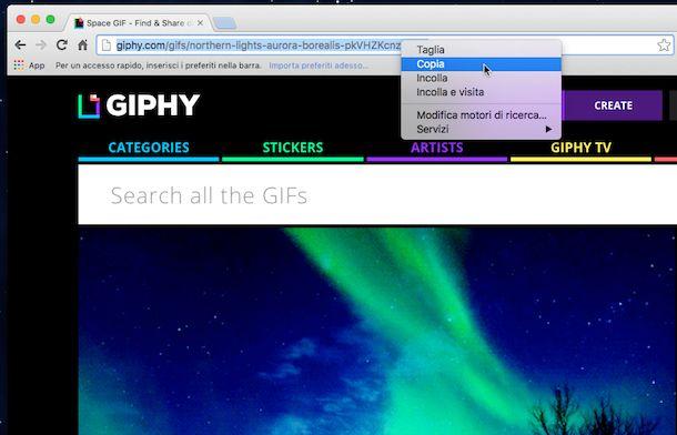 Screenshot che mostra come pubblicare GIF su Facebook
