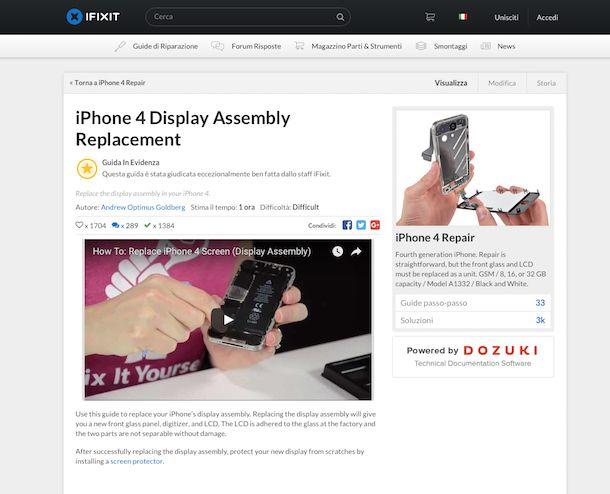 Screenshot del sito Internet di iFixit
