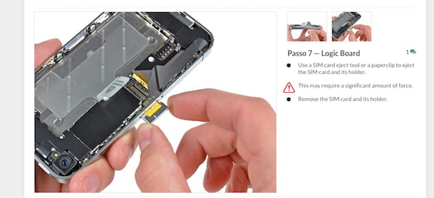 Screenshot del sito Internet di iFixit