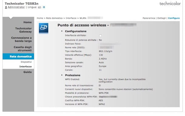 Screenshot che mostra come trovare password WiFi Infostrada