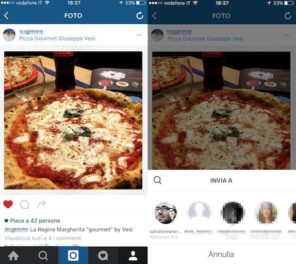 Screenshot di Instagram