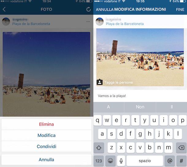 Screenshot che mostra come taggare su Instagram