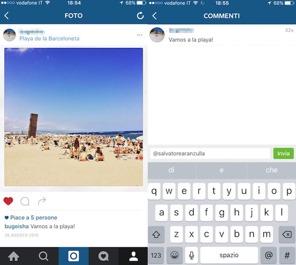 Screenshot che mostra come taggare su Instagram