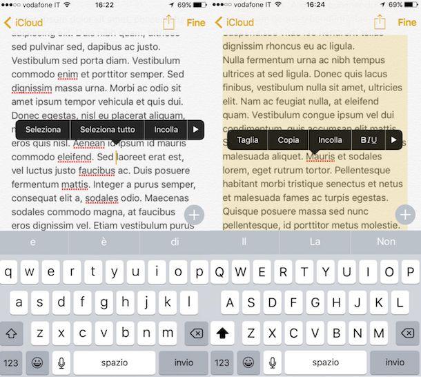 Screenshot che mostra come selezionare tutto su iOS