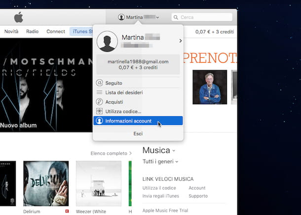 Screenshot di iTunes