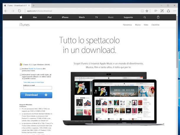 Screenshot della pagina di download di iTunes