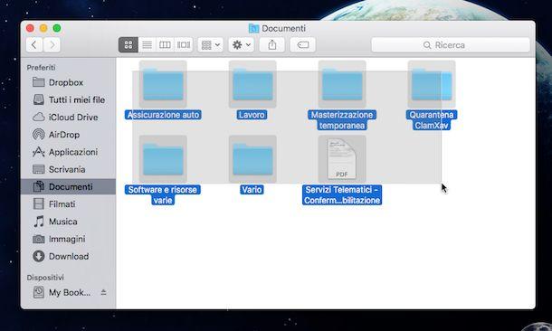 Screenshot che mostra come selezionare tutto su OS X