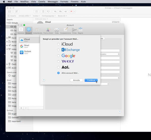 Screenshot di Mail su Mac