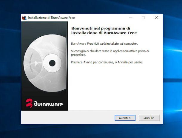 Screenshot che mostra come masterizzare con Windows 10