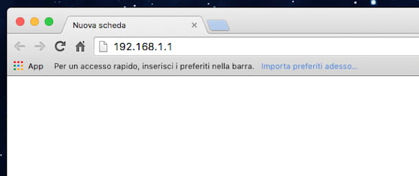 Screenshot che mostra come accedere router Fastweb