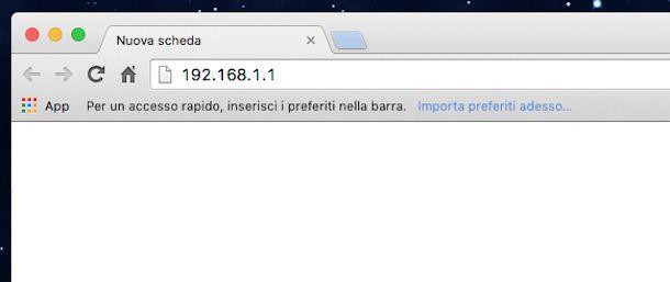 Screenshot che mostra come accedere router Fastweb