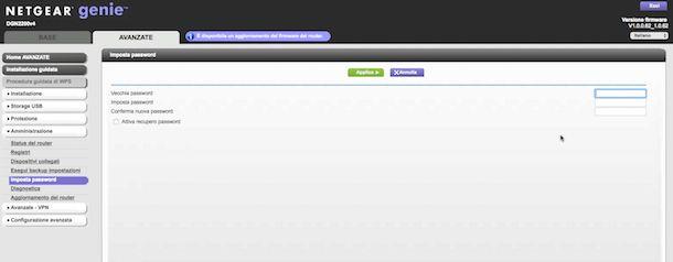 Screenshot del pannello di controllo del modem