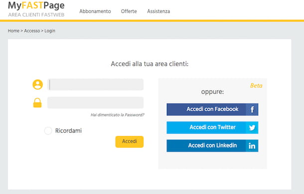 Screenshot di MyFastPage