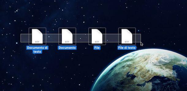 Screenshot che mostra come rinominare più file su OS X