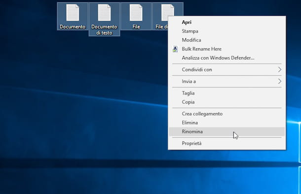 Screenshot che mostra come rinominare più file su Windows