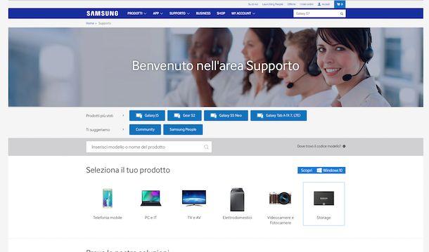 Screenshot sito Samsung