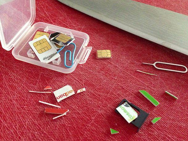 Foto che mostra come adattare SIM