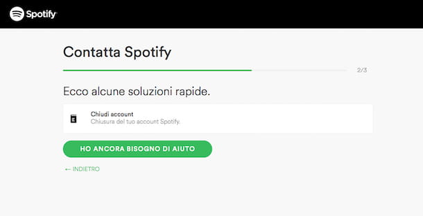 Screenshot del sito Internet di Spotify