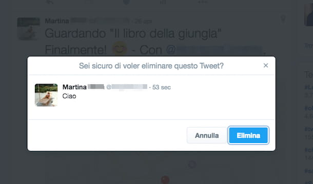 Screenshot di Twitter