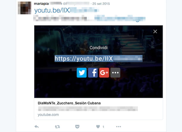Screenshot che mostra come twittare video YouTube