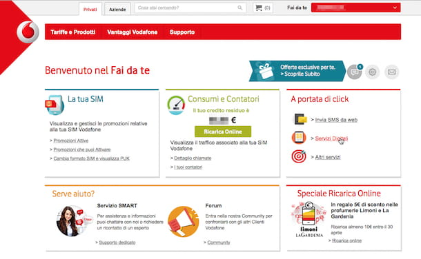 Screenshot del sito internet di Vodafone