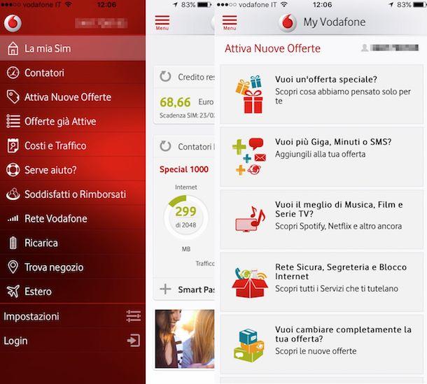 Screenshot che mostra come attivare Vodafone Exclusive