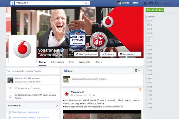 Screenhsot della fanpage Facebook di Vodafone
