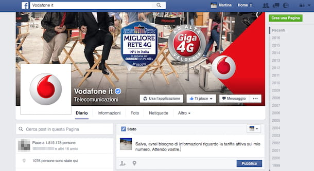 Screenshot che mostra come chattare con Vodafone su Facebook