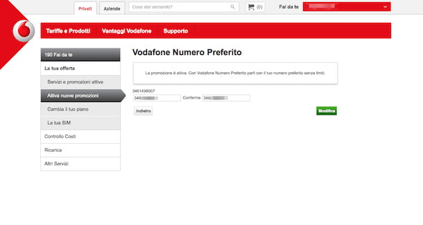 Screenshot che mostra come modificare il numero preferito Vodafone