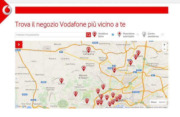 Screenshot che mostra come trovare PUK Vodafone