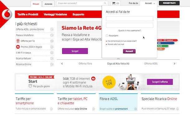 Screenshot che mostra come chattare con Vodafone tramite sito Internet dell'operatore