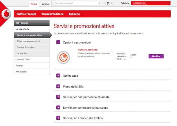 Screenshot del sito Internet Vodafone