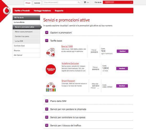 Screenshot del sito Internet Vodafone