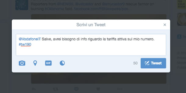 Screenshot che mostra come chattare con Vodafone su Twitter