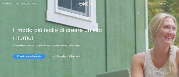 Screenshot di Weebly